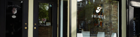 Fringe Hair Salon - Storefront in Toronto's Parkdale Neighbourhood.